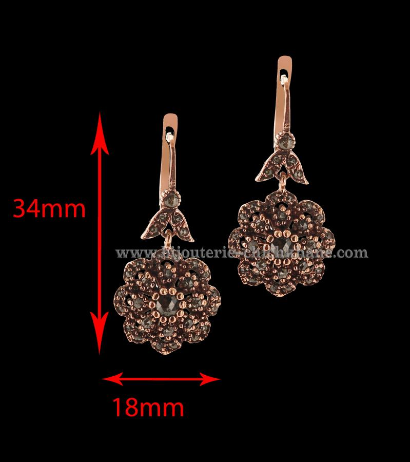Bijoux Boucles D'oreilles Diamants Rose ''Chichkhane'' 44501