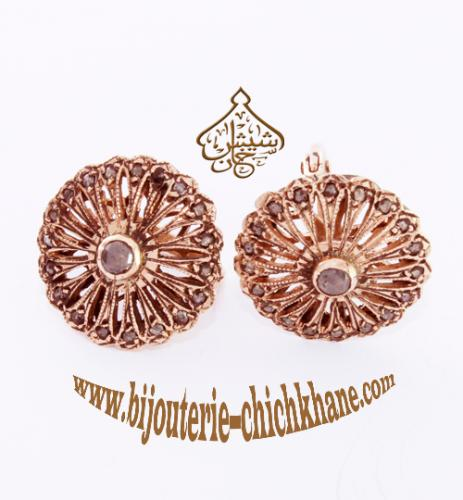 Bijoux Boucles D'oreilles Diamants Rose ''Chichkhane'' 20525