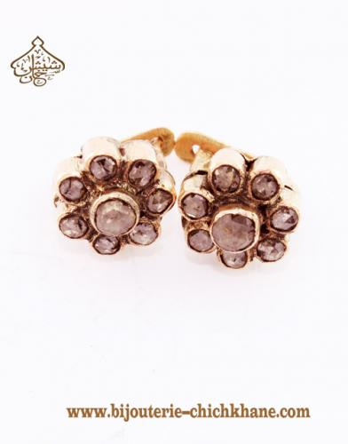 Bijoux Boucles D'oreilles Diamants Rose ''Chichkhane'' 30687