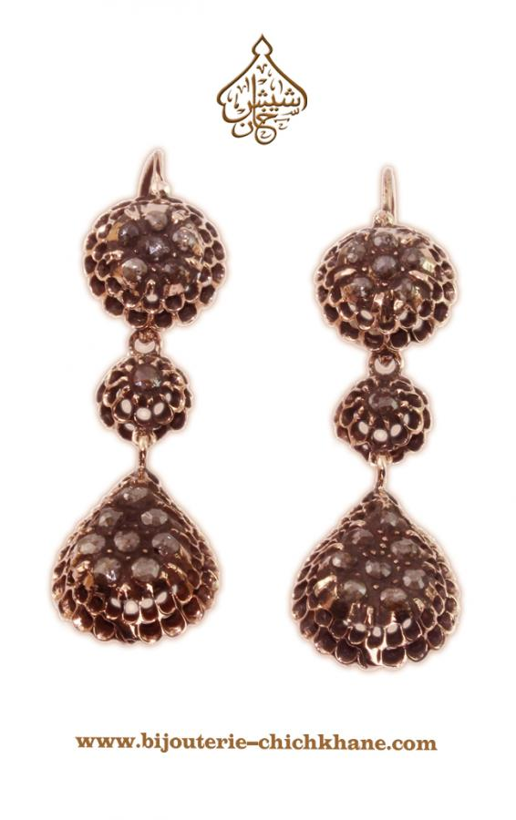Bijoux Boucles D'oreilles Diamants Rose ''Chichkhane'' 35216