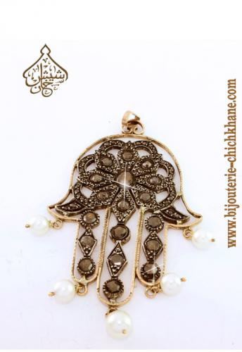 Bijoux Pendentif Main De Fatma Diamants Rose ''Chichkhane'' 33109