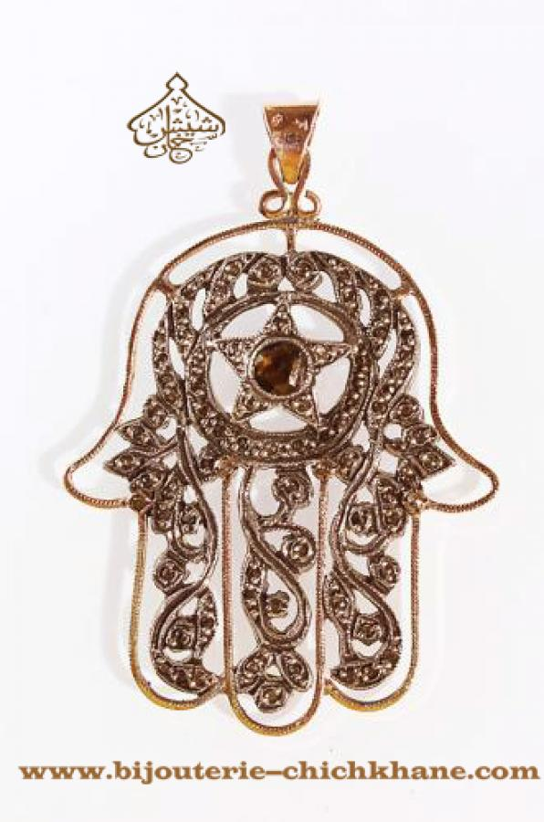 Bijoux Pendentif Main De Fatma Diamants Rose ''Chichkhane'' 33112