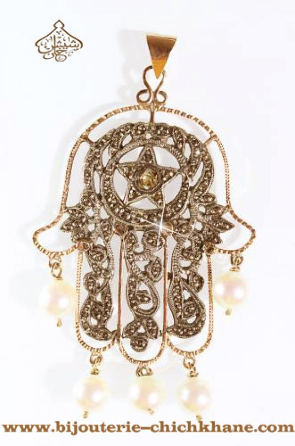 Bijoux Pendentif Main De Fatma Diamants Rose ''Chichkhane'' 33299